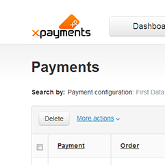 X-Payments admin back-end