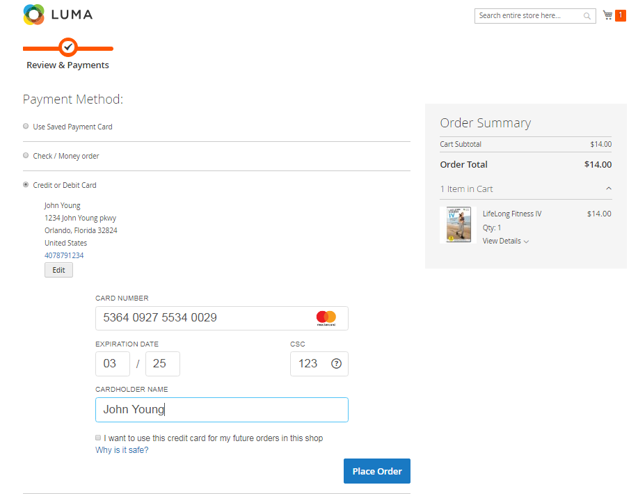 Magento 2 checkout with secure X-Payments credit card form displayed